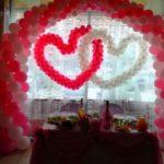 Арка и сердца из шаров на свадьбу
